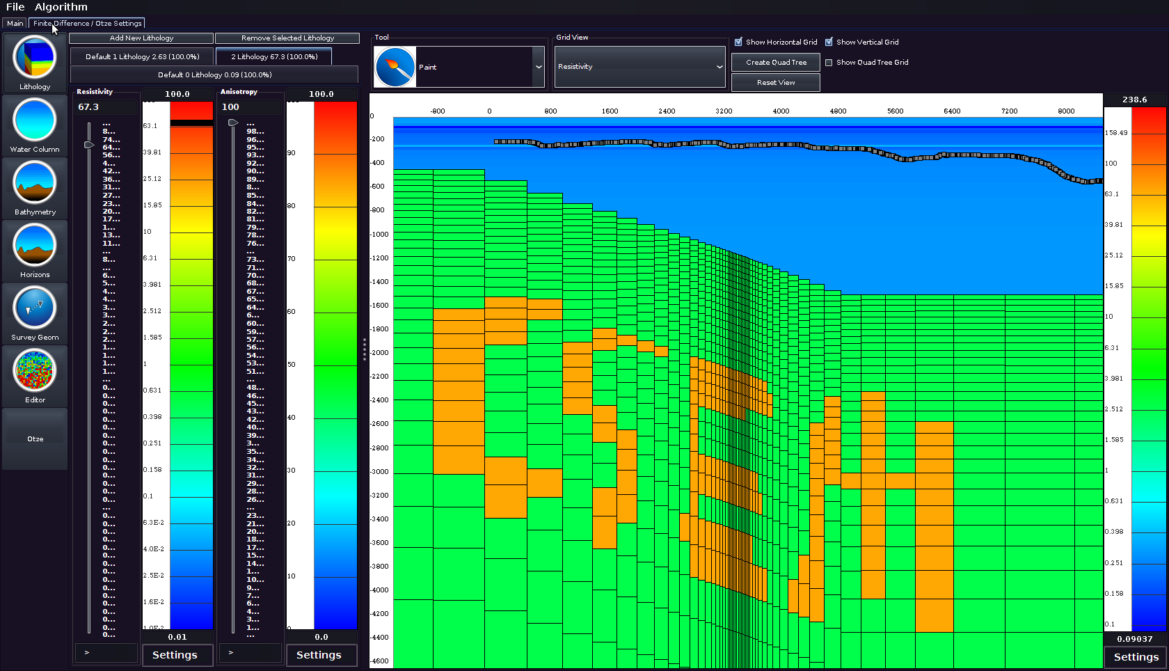 "CSEMoMatic modelling a resistive ""CSEM"" body in a conductive earth with strong bathymetry"